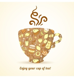Mug with tea pattern isolated background vector