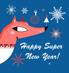 new year bright greeting card with a red fox vector image