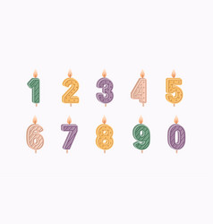 numbered birthday candles set for 1 2 3 4 5 6 vector image