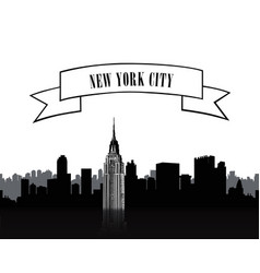 nyc sign urban city skyline silhouette travel usa vector image