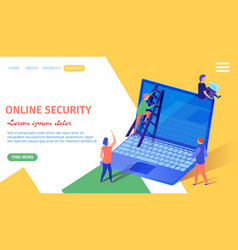 online security banner tiny people at huge laptop vector image