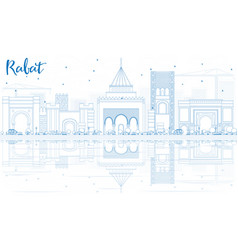 Outline rabat skyline with blue buildings and vector