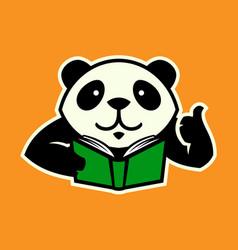 panda character with book and thumb up vector image