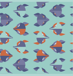 Paper foxes turquoise seamless pattern vector