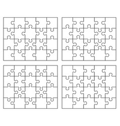parts four white puzzles vector image