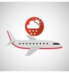 Plane travel weather forecast rain sun icon vector