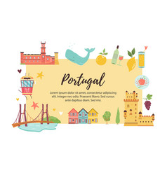 portugal abstract design with icons and symbols vector image