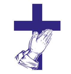 praying hands cross symbol christianity hand vector image