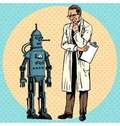 Professor scientist and robot Creator gadget vector