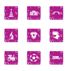 Provide for child icons set grunge style vector