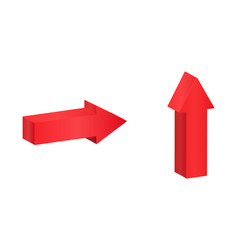 red isometric arrows pointing symbol vector image