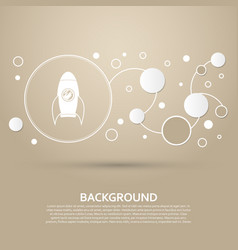 rocket icon on a brown background with elegant vector image
