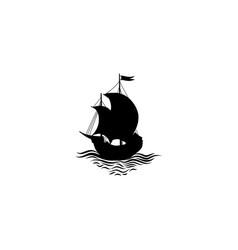 sailing ship silhouette retro transport icon vector image