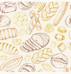 seamless pattern with a variety of bakery products vector image