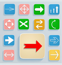 set arrows on icons vector image