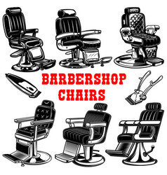 set of barber shop chair design element for logo vector image