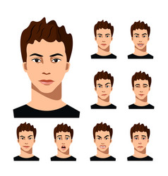 Set of male facial emotions vector