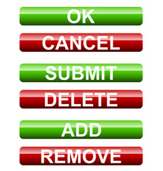 Set of submission buttons ok cancel submit delete vector