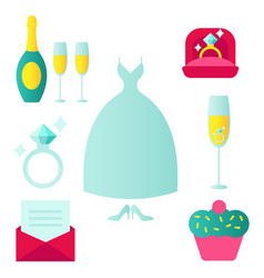Set wedding icons in flat style with an vector