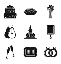 Solemnize icons set simple style vector