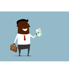 successful businessman with a handful money vector image