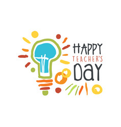 Teachers day greeting card with electric lamp vector