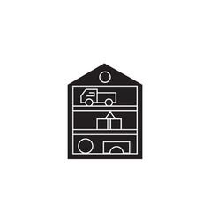 Toys closet black concept icon toys closet vector