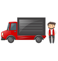 truck driver with red truck vector image