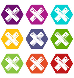 two crossed rulers icon set color hexahedron vector image