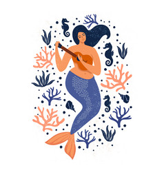 under the sea card with mermaid leaves seashells vector image