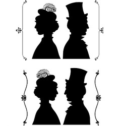 Vintage cameo silhouette vector