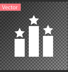 White ranking star icon isolated on transparent vector