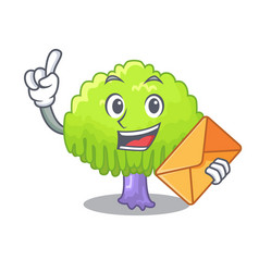 With envelope drawing of willow tree shape cartoon vector