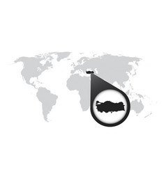 World map with zoom on turkey map in loupe in vector