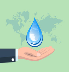 World water day with hand holding drop vector