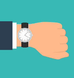 wristwatch on the hand of businessman in suit vector image