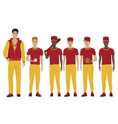 Young baseball players vector