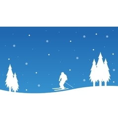 Landscape happy ski winter Christmas vector image vector image