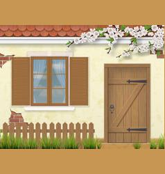 spring old facade window wooden door vector image
