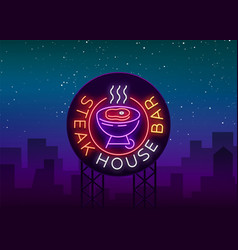 steak house logo neon sign symbol bright vector image