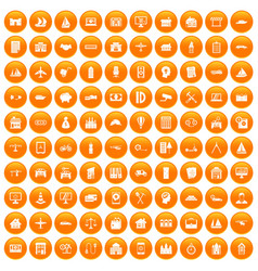100 private property icons set orange vector image