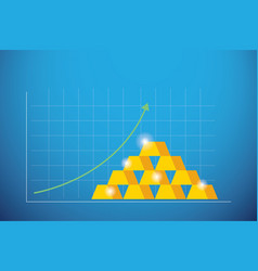 business graph gold bars with green arrow up vector image vector image