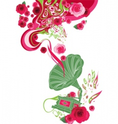 gramophone on the floral background vector image
