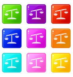 retro scales icons 9 set vector image