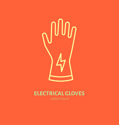 safety gloves hand protection flat line icon vector image vector image