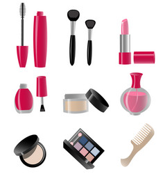 set cosmetics colorful vector image