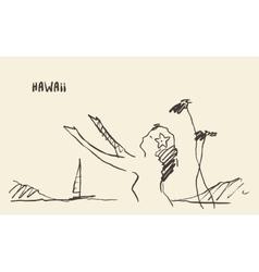 Sketch Hawaiian girl drawn vector image
