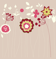 abstract flowers greeting card vector image vector image
