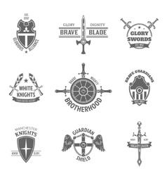 Heraldic coat of arms labels set vector