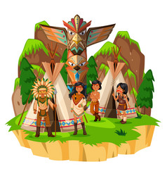 native american indians at their tents vector image
